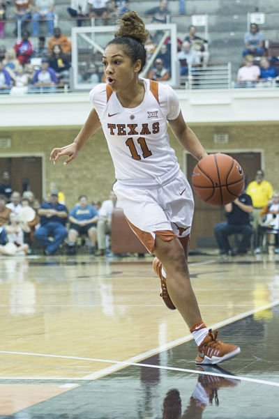 Point guard Brooke McCarty leads the Longhorns in scoring so far this year, averaging 16.3 points per game. Photo courtesy of Texas Athletics.