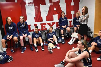 Tricia Binford addresses the Bobcats at halftime. Photo courtesy of Montana State Athletics.