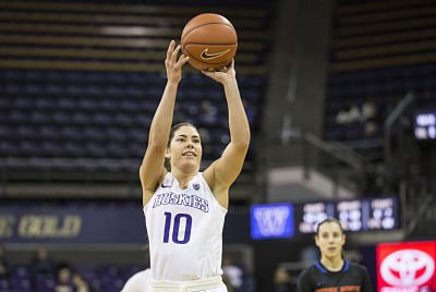 Kelsey Plum launches the shot that gave her the all-time Pac 12 scoring leader record. She had 44 points on the day against Boise State. Photo courtesy of Washington Athletics.
