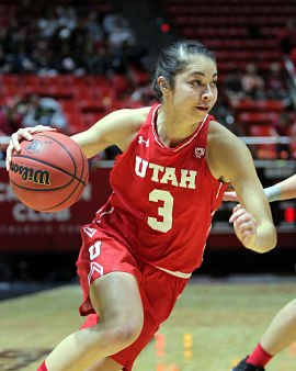 Malia Nawahine led Utah to victory over USC with 17 points, including the game-winning shot. Photo by the Daily Herald.