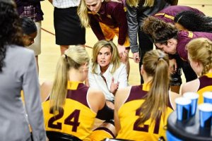 Charli Turner Thorne conducts a timeout. Photo courtesy of Sun Devil Athletics.