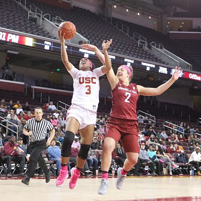 Freshman Minyon Moore put up a career-high 32 points in USC's rout of Washington State Friday. Photo by Benita West/T.G.Sportstv1.