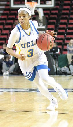 Jordin Canada did her best to help get the Bruins past the Beavers in Saturday's Pac 12 Tournament semifinal. She had 27 points. Photo by Mike Houston/T.G.Sportstv1.