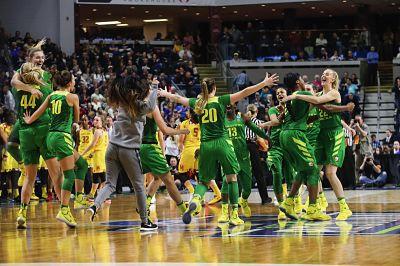 Oregon celebrates its upset win over Maryland. Photo courtesy of Oregon Athletics.