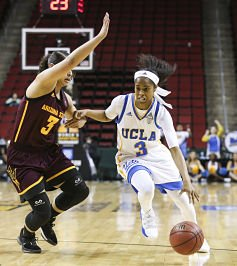Jordin Canada drives to the rim in her 24-point, seven-assist effort against Arizona State. Photo by Eric Evans Photography.