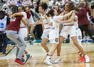 The Gamecocks celebrate their National Championship win. Photo by Robert L. Franklin.