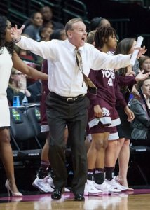 Vic Schaefer calls out instructions in the fourth quarter. Photo by Robert L. Franklin.
