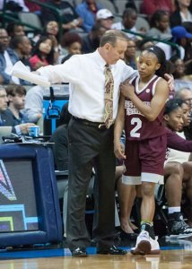 Vic Schaefer has a moment with Morgan William. Photo by Robert L. Franklin.