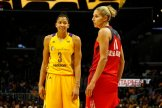 Candace Parker and Elena Delle Donne. Photo by Maria Noble/WomensHoopsWorld.