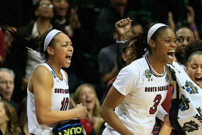 Allisha Gray and Kaela Davis react as South Carolina wins the National Championship. Photo by Ron Jenkins/Getty Images.