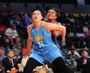 Stefanie Dolson boxes out for the rebound. Photo by Scott Cunningham/NBAE via Getty Images.