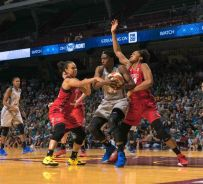 Sylvia Fowles battles after securing the rebound. Photo by Brian Few Jr./T.G.Sportstv1.