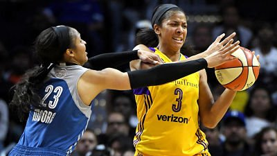 Maya Moore and Candace Parker are set to battle once again tonight in Game 4 of the WNBA Finals. Photo by Mark J. Terrill/Associated Press.