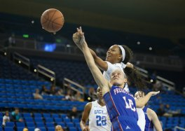 Lajahna Drummer and Cortney Storey battle for a rebound. Photo by Maria Noble/WomensHoopsWorld.