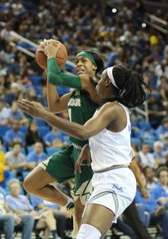 Alexis Morris drives on Kennedy Burke. Photo by Maria Noble/WomensHoopsWorld.