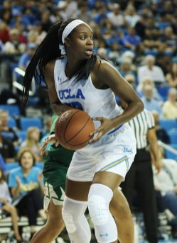 Kennedy Burke prepares to pass. Photo by Maria Noble/WomensHoopsWorld.