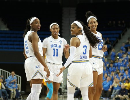 The Bruins huddle at a pause in game action. Photo by Maria Noble/WomensHoopsWorld.