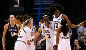 #15 Teaira McCowan and #2 Morgan William will likely be key in Mississippi State's Elite 8 matchup with UCLA, coach Vic Schaefer says. AP file photo by Sue Ogrocki.