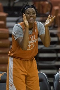 Jordan Hosey shouts encouragement at a practice scrimmage. Photo courtesy of Texas Athletics.