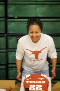 Erica Routt celebrates her daughter's signing to Texas. Photo courtesy of Erica Routt.