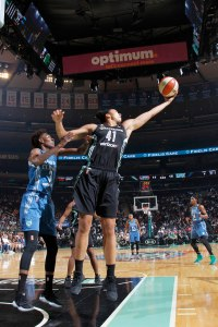Kiah Stokes snags a rebound. Photo by MSG Networks.