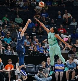 Cecelia Zandalasini launches a shot over Marissa Coleman. Photo courtesy of Minnesota Lynx.