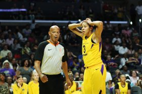 Candace Parker is in disbelief that a foul has been called on her. Maria Noble/WomensHoopsWorld.