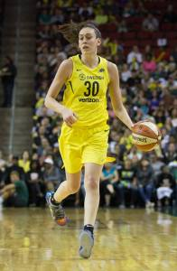 Breanna Stewart brings the ball up court. She scored 28 points for the Storm the same day she was named the 2018 WNBA MVP. Neil Enns/Storm Photos.