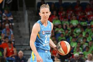 Courtney Vandersloot has been steadily breaking records all season long. Photo courtesy of Chicago Sky/NBAE via Getty Images.