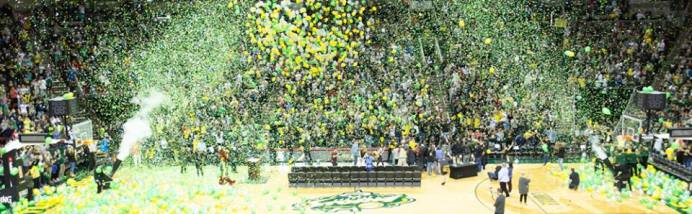 Confetti drops as balloons are released. Neil Enns/Storm Photos.