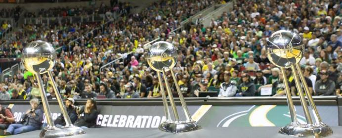 The Seattle Storm's three Championship trophies. Neil Enns/Storm Photos.
