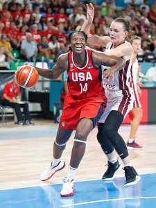 Tina Charles had 18 points and six rebounds against Latvia earlier this week. Photo by Catherine Steenkeste/NBAE via Getty Images.