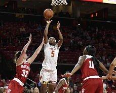 Kaila Charles puts up a shot. Photo courtesy of Maryland Athletics.