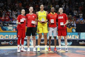 Tournament All-Star team, from left: Diana Taurasi, Emma Meesseman, Liz Cambage, Astou Ndour and MVP Breanna Stewart. NBAE via Getty Images photo.