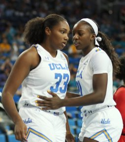 Lauryn Miller and Michaela Onyenwere have a few words on court. Maria Noble/WomensHoopsWorld.