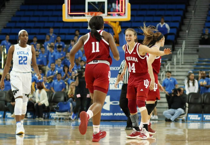 Hoosier players celebrate their win. Photo by Maria Noble/WomensHoopsWorld.
