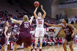 Brenna Wise elevates for a shot. Photo courtesy of Indiana Athletics.