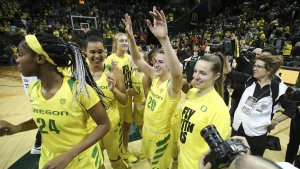 The Oregon Ducks wave to the crowd after winning their first game against in-state rival Oregon State Friday. Photo courtesy of Oregon Athletics.