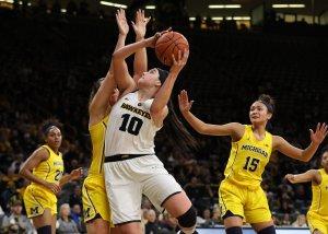 Megan Gustafson became Iowa's all-time leading scorer this season. Brian Ray/hawkeyesports.com.