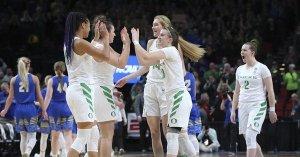 Oregon celebrates after their Sweet 16 win over South Dakota State. Photo courtesy of Oregon Athletics.