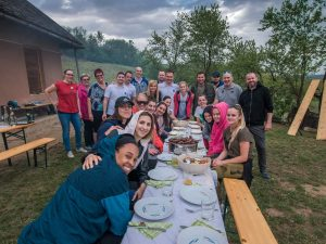 Erica McCall, left, and team enjoy a picnic together. Photo courtesy of Erica McCall.