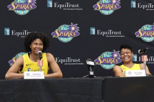 Tuesday, May 14, 2019 - Tierra Ruffin-Pratt (L) and Alana Beard attend the Los Angeles Sparks Media Day in Los Angeles, California. (Maria Noble/BNP Paribas Open).