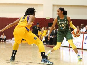 Friday, May 17, 2019 - Jordin Canada is guarded by Tierra Ruffin-Pratt. Maria Noble/WomensHoopsWorld.