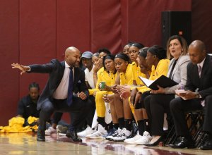 Friday, May 17, 2019 - Coach Derek Fisher talks to Sparks players. Maria Noble/WomensHoopsWorld.