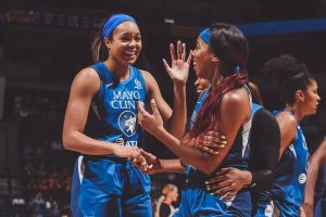 Rookie Napheesa Collier and second-year guard Lexie Brown celebrate after a play. Photo courtesy of Minnesota Lynx.