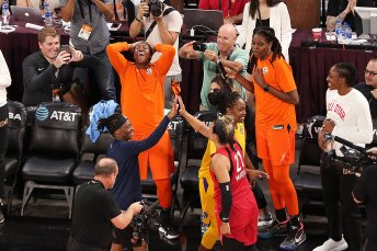 Friday, July 26, 2019 - Shekinna Stricklen celebrates winning the three-point shooting contest during the WNBA All-Star Weekend at Mandalay Bay in Las Vegas, NV. (Maria Noble)