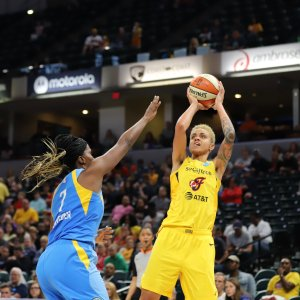 Candice Dupree unleashes a shot. Kimberly Geswein photo.