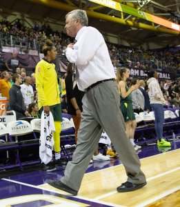 DAn Hughes leaves the court after receiving his second technical foul and being ejected from the game. Neil Enns/Storm photos.