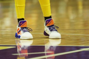 Candace Parker and her daughter Lailaa designed the Pat Summitt tribute shoe together. (Maria Noble)