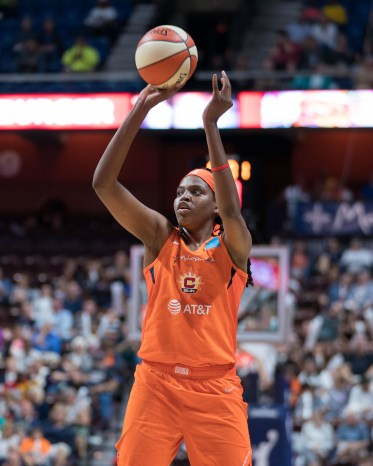 Connecticut Sun center Jonquel Jones (35) shoots during the WNBA Semi-Finals between the Los Angeles Sparks and the Connecticut Sun at Mohegan Sun Arena, Uncasville, Connecticut, USA on September 17, 2019. Photo Credit: Chris Poss